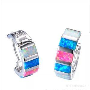 NEW! Women Silver Multicolor Opal Dangle e…